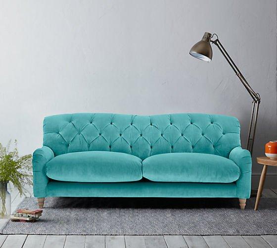 Crumble 3 Seater Sofa in Turquoise Velvet