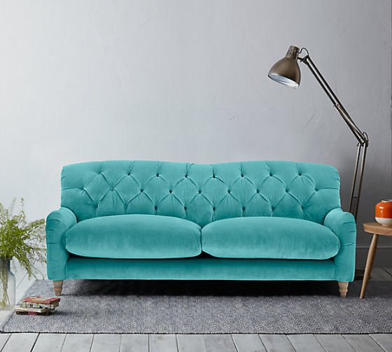 Crumble 3 Seater Sofa in Turquoise Velvet