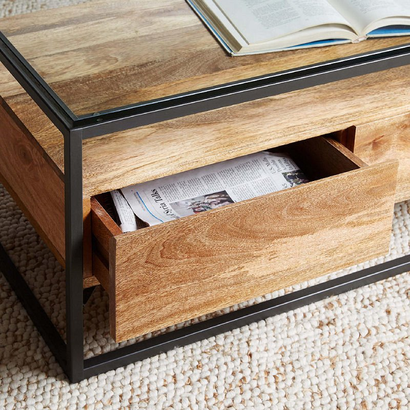West Elm Industrial Storage Coffee Table with shelf and drawers from John lewis & Partners
