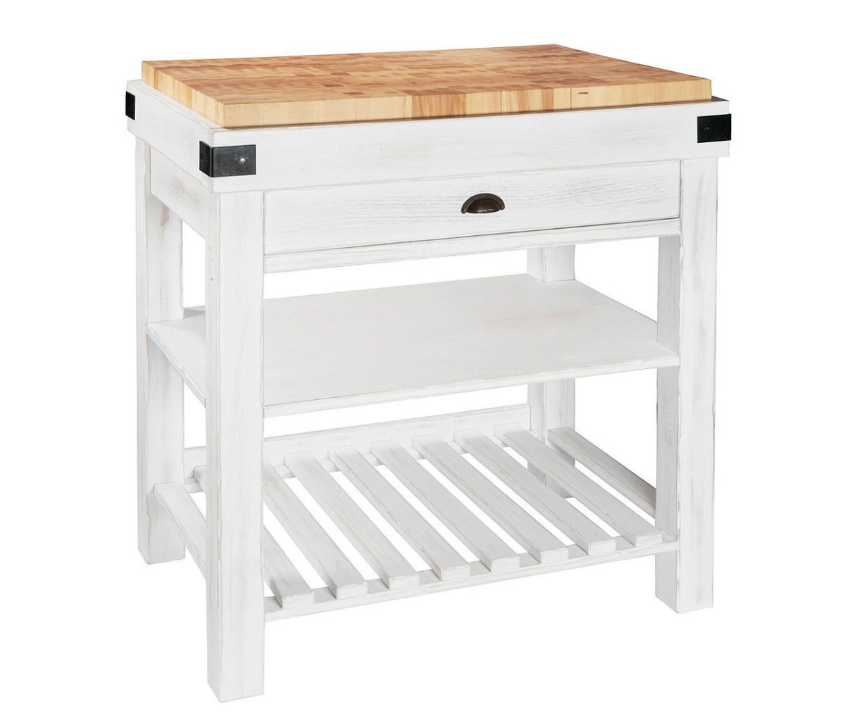 Eddingtons Foxhill freestanding kitchen island for small spaces in white with wood chopping block