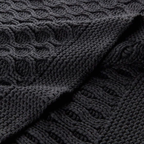 John Lewis Croft Collection Cotton Chain Knit Throw in charcoal grey