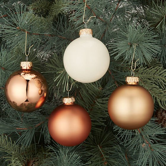 John Lewis Christmas tree decorations in shades of copper