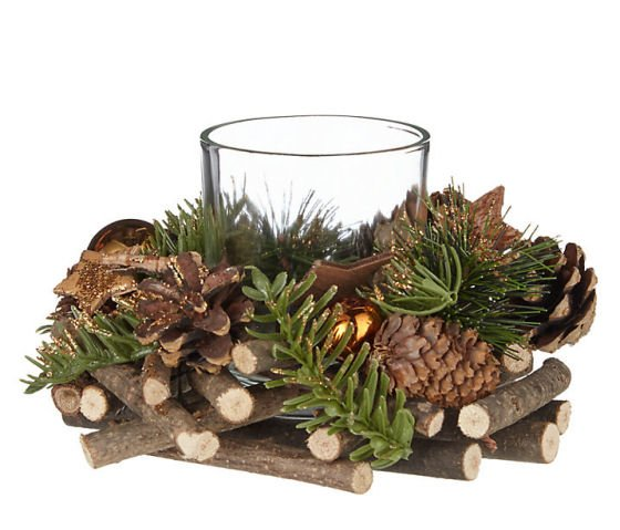 John Lewis christmas decorations - Pinecone and Star Tealight Holder
