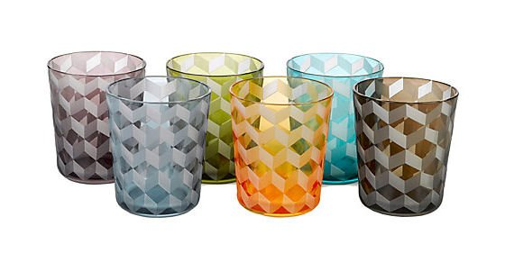 Pols Potten coloured glass tumblers in Tumbling Block design