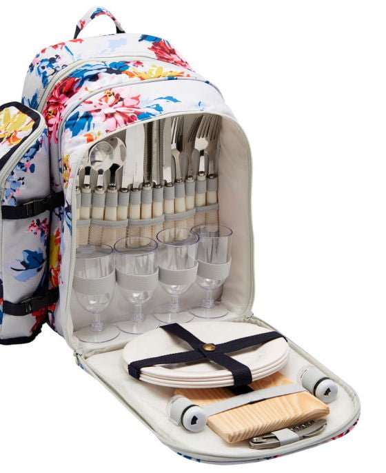 Joules Picnic Rucksack for 4 people with floral design