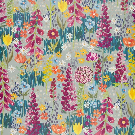 John Lewis Flora wallpaper, bright modern floral wallpaper design in pinks, yellows and blues