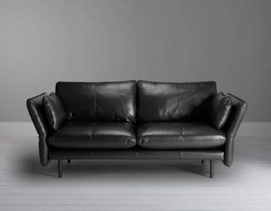 John Lewis leather sofa for small spaces in black leather - John Lewis Design Project