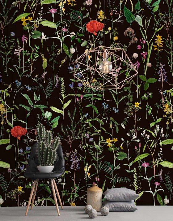 Dark floral wallpaper Aquafleur Wallpaper Set by MINDTHEGAP