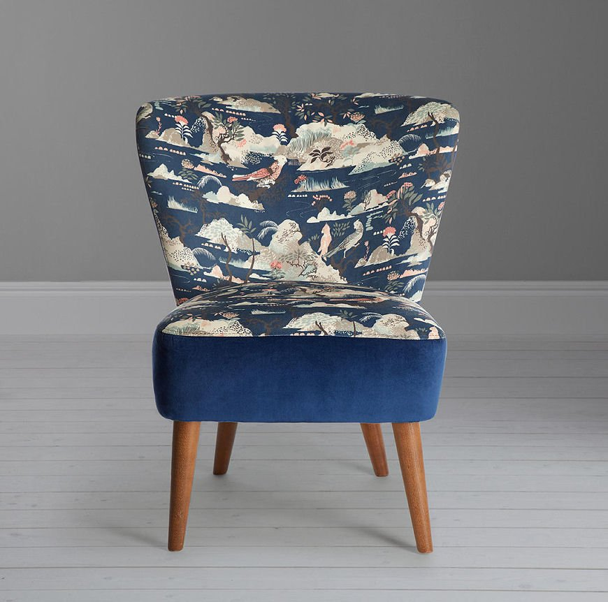 Blue Audrey accent chair from the Palazzo Collection by John Lewis & Partners