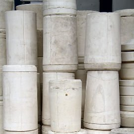 Tubes of raw clay waiting to be made into lights