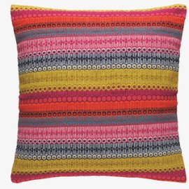 Habitat Agnes Red Striped woven cotton cushion in red, pink, green and grey