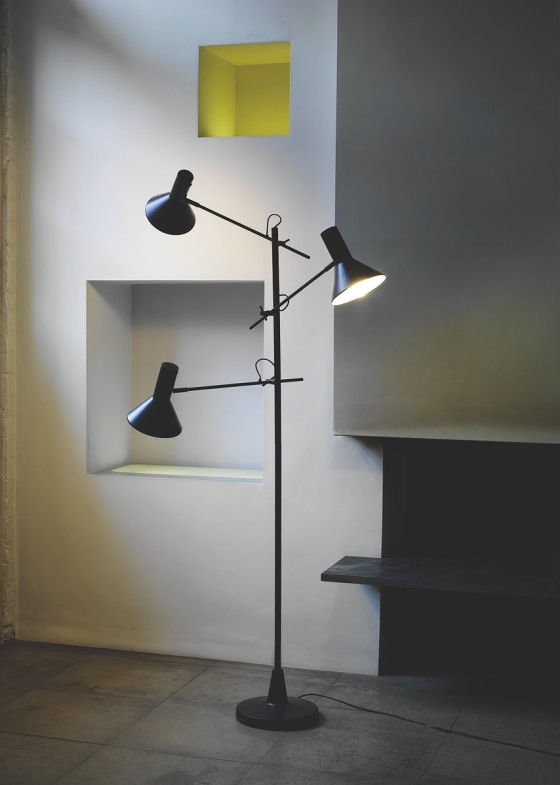 Top 10 retro floor lamps colourful beautiful things mid century style nyx black floor lamp with 3 adjustable arms aloadofball Images