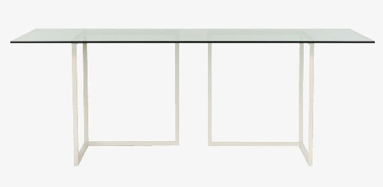 Clear glass table top on white trestles from Habitat