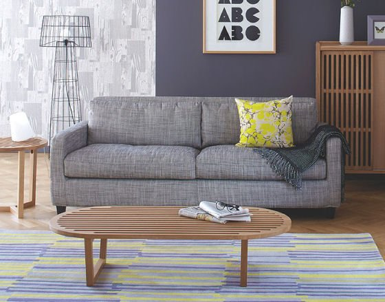 Habitat grey Chester sofa for small spaces in modern room setting
