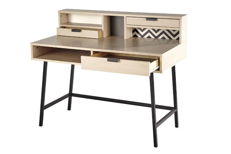 Graphik desk for small spaces in light wood and black metal frame