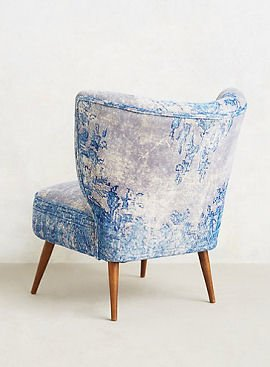 Back view of blue and white mid century accent chair