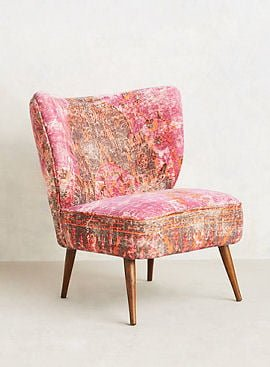 Pink, orange and brown velvet accent chair