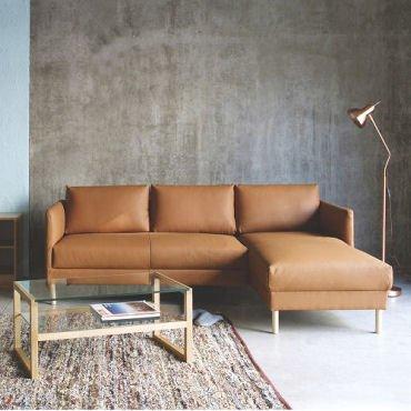 Hyde Chaise tan leather corner sofa by Habitat