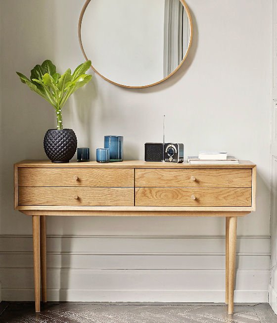4-drawer wood mid-century console table with storage for small spaces