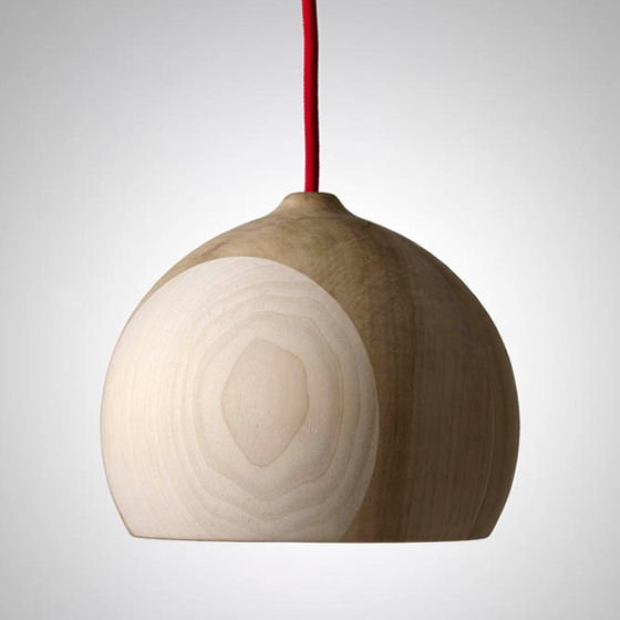 Round wooden pendant light made from dark and light tulip timber