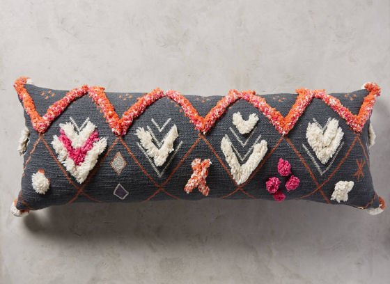 Grey cushion with orange, pink & white tufting from Anthropologie AW16 home textiles range