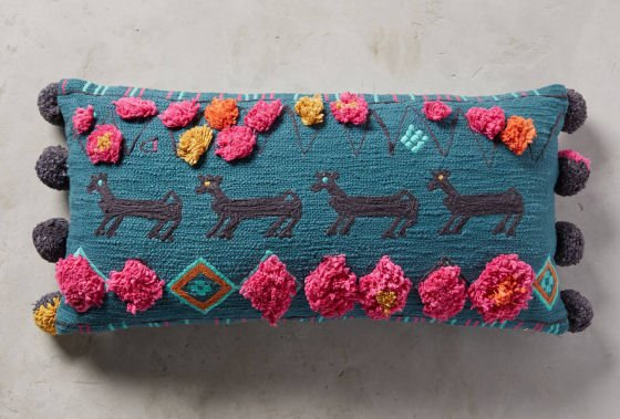 Anthropologie Turquoise Heradia oblong cushion with colourful embroidery and pompoms