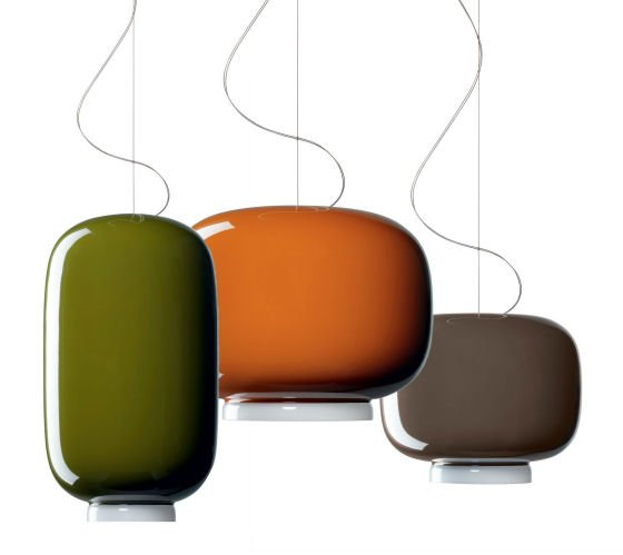 Chouchin coloured glass pendant lights in green, orange and brown