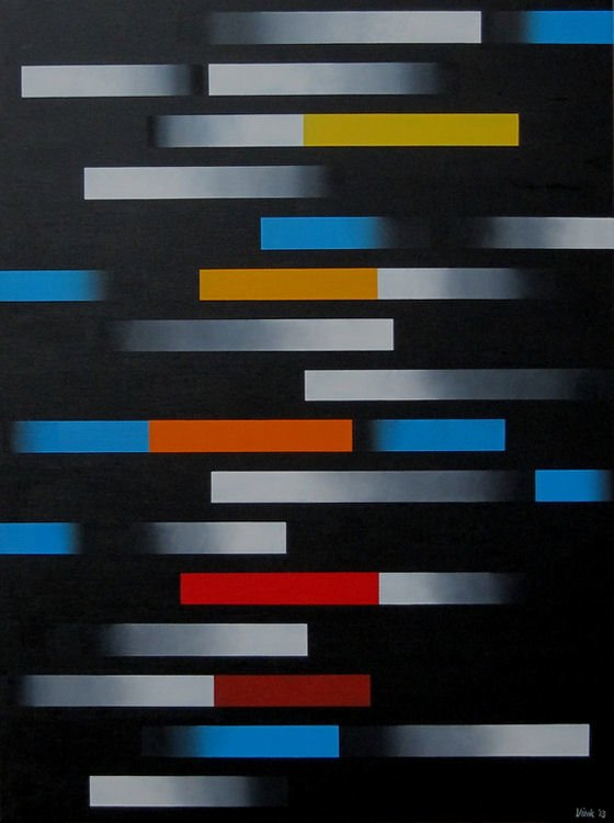Abstract painting of grey and coloured shaded blocks on black
