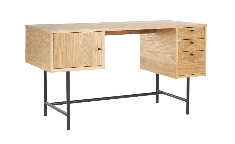 Habitat Robson modern home desk in oak with black metal legs and retro styling