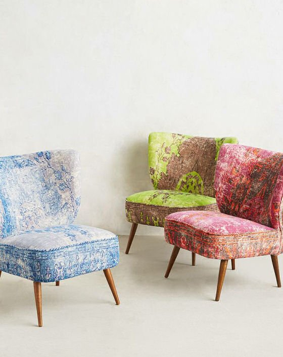 Blue, green and pink velvet accent Moresque chairs by Anthropologie
