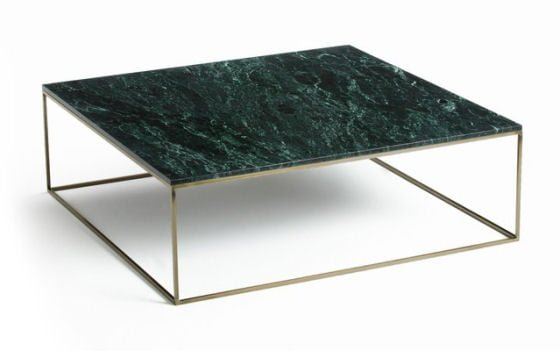 Contemporary square marble coffee table in green marble with brass base #marble #furniture
