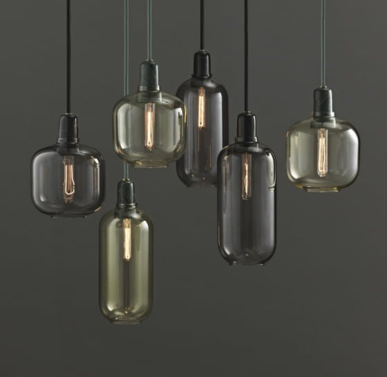 Ampsmoked glass pendant lights by Normann Copenhagen
