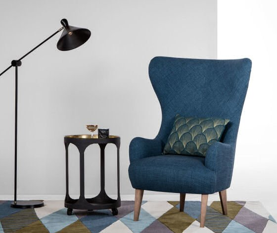 Made.com Bodil armchair for small spaces in blue