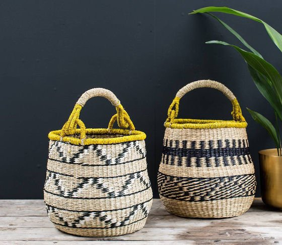 Woven decorative home storage baskets with handles in black, white and yellow