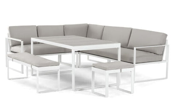 Catania corner garden dining set in contemporary white and grey