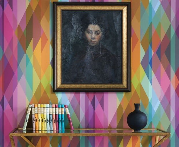 colourful contemporary geometric wallpaper Prism by Cole & Son