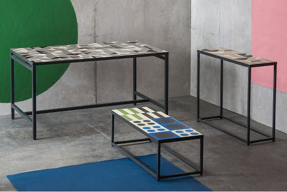 MADE Vitti collection of contemporary tables with geometric tiled tops