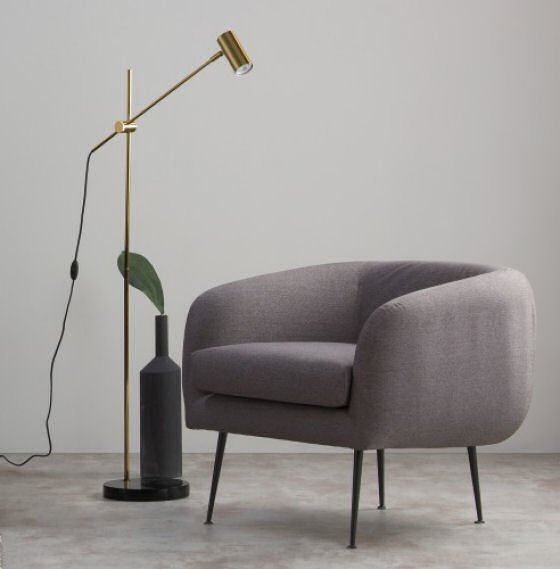 The Obie Brass Floor Lamp is perfect for small spaces with its compact footprint and versatile adjustable height and lamp #smallfloorlamps