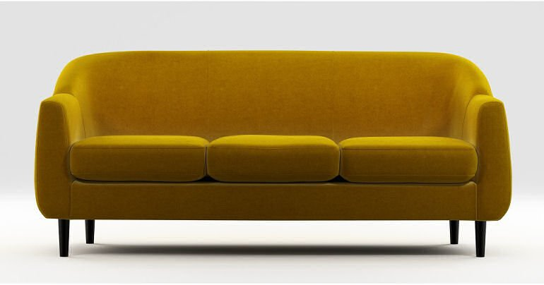 Tubby narrow sofa for small spaces in saffron yellow velvet