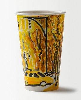 Porcelain latte cup with New York street scene and yellow taxi