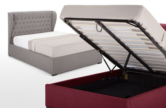 Contemporary storage beds in grey and red