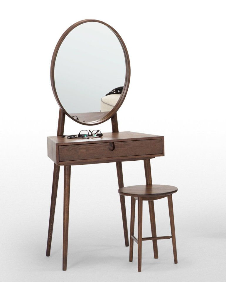 Penn small dressing table for small spaces in dark wood