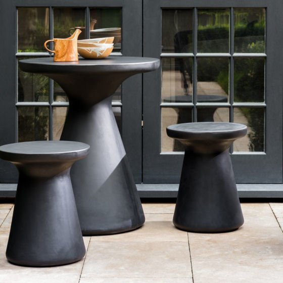 Habitat 2-seater black concrete garden set for small spaces
