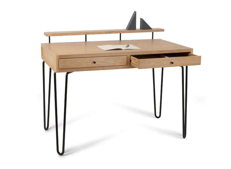 Heal's Brunel contemporary home desk in solid oak with black hairpin legs
