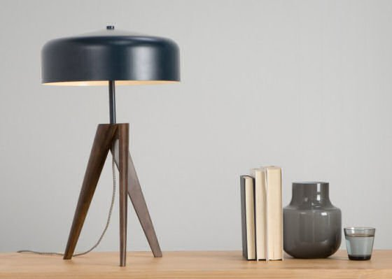 MADE Madison Table Lamp with navy blue metal shade and dark wood base #contemporary lighting #tablelamps