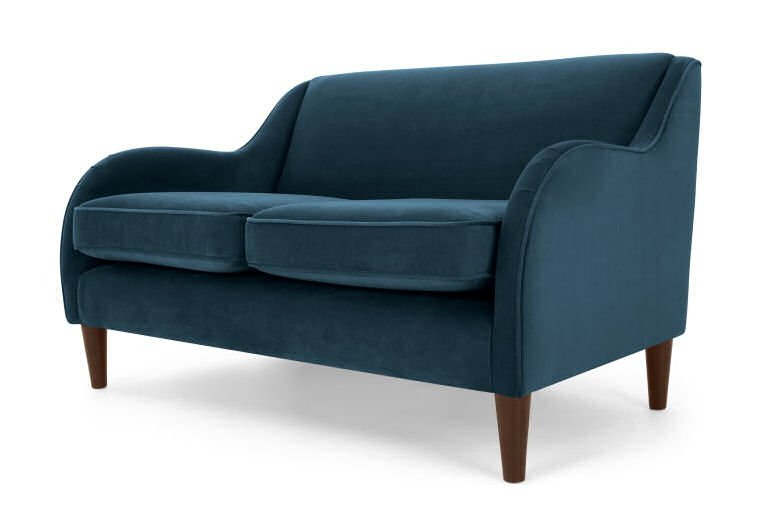MADE cosy blue velvet Helena sofa for small spaces
