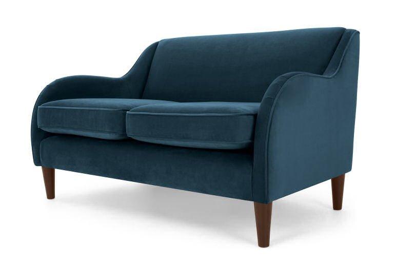 Made blue velvet Helena sofa for small spaces