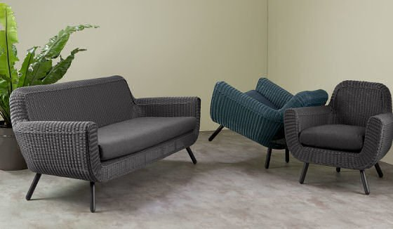 MADE Jonah outdoor sofa in grey with Jonah outdoor armchairs in grey and blue
