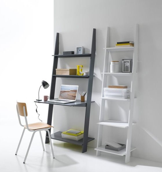 White Ladder Shelf and Grey Ladder Shelf/Desk from La Redoute