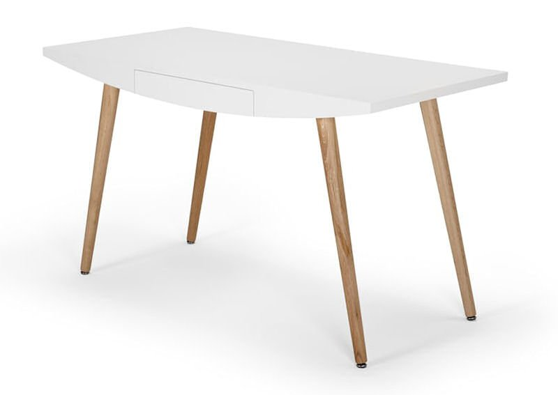 contemporary home desk in white and oak
